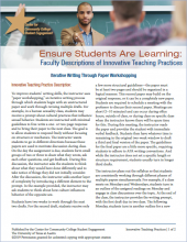 Ensure Students Are Learning: Faculty Descriptions of Innovative Teaching Practices: Iterative Writing Through Paper Workshopping