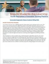 Ensure Students Are Learning: Faculty Descriptions of Innovative Teaching Practices: Incremental Assignments Enhance Academic Writing Skills