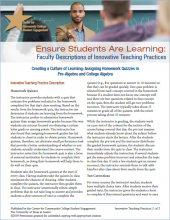 Ensure Students Are Learning: Faculty Descriptions of Innovative Teaching Practices: Creating a Culture of Learning: Assigning Homework Quizzes in Pre-Algebra and College Algebra