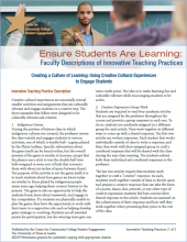 Ensure Students Are Learning: Faculty Descriptions of Innovative Teaching Practices: Creating a Culture of Learning: Using Creative Cultural Experiences to Engage Students