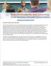 Ensure Students Are Learning: Faculty Descriptions of Innovative Teaching Practices: Linking Art and Historical Context