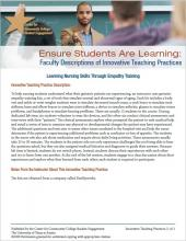 Ensure Students Are Learning: Faculty Descriptions of Innovative Teaching Practices: Learning Nursing Skills Through Empathy Training