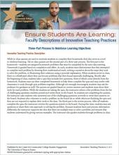 Ensure Students Are Learning: Faculty Descriptions of Innovative Teaching Practices: Three-Part Process to Reinforce Learning Objectives