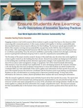 Ensure Students Are Learning: Faculty Descriptions of Innovative Teaching Practices: Real-World Application With Business Sustainability Plan