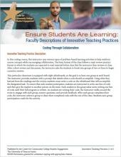 Ensure Students Are Learning: Faculty Descriptions of Innovative Teaching Practices: Coding Through Collaboration