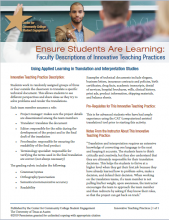 Ensure Students Are Learning: Faculty Descriptions of Innovative Teaching Practices: Using Applied Learning in Translation and Interpretation Studies
