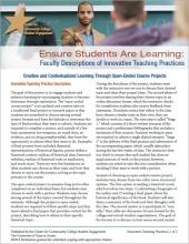 Ensure Students Are Learning: Faculty Descriptions of Innovative Teaching Practices: Creative and Contextualized Learning Through Open-Ended Course Projects