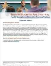 Ensure Students Are Learning: Faculty Descriptions of Innovative Teaching Practices: Ethnographic Research