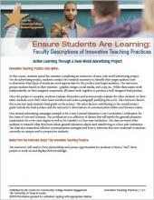 Ensure Students Are Learning: Faculty Descriptions of Innovative Teaching Practices: Active Learning Through a Real-World Advertising Project