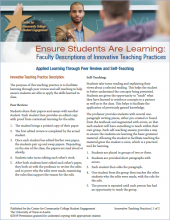 Ensure Students Are Learning: Faculty Descriptions of Innovative Teaching Practices: Applied Learning Through Peer Review and Self-Teaching