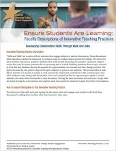 Ensure Students Are Learning: Faculty Descriptions of Innovative Teaching Practices: Developing Collaborative Skills Through Walk and Talks