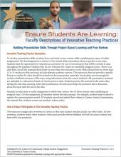 Ensure Students Are Learning: Faculty Descriptions of Innovative Teaching Practices: Building Presentation Skills Through Project-Based Learning and Peer Review