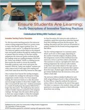 Ensure Students Are Learning: Faculty Descriptions of Innovative Teaching Practices: Contextualized Writing With Feedback Loops