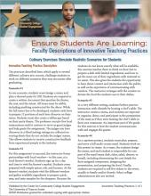 Ensure Students Are Learning: Faculty Descriptions of Innovative Teaching Practices: Culinary Exercises Simulate Realistic Scenarios for Students