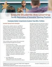 Ensure Students Are Learning: Faculty Descriptions of Innovative Teaching Practices: Developing Detailed, Comprehensive Academic Plans With e-Portfolios