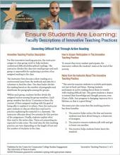 Ensure Students Are Learning: Faculty Descriptions of Innovative Teaching Practices: Dissecting Difficult Text Through Active Reading