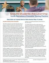 Ensure Students Are Learning: Faculty Descriptions of Innovative Teaching Practices: Study Guides and Jeopardy Based on Native American Ways of Learning