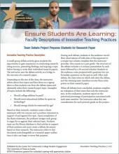 Ensure Students Are Learning: Faculty Descriptions of Innovative Teaching Practices: Team Debate Project Prepares Students for Research Paper