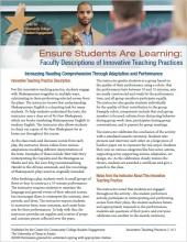 Ensure Students Are Learning: Faculty Descriptions of Innovative Teaching Practices: Increasing Reading Comprehension Through Adaptation and Performance