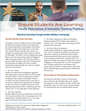 Ensure Students Are Learning: Faculty Descriptions of Innovative Teaching Practices: Dialectical Reasoning Through Iterative Writing in Psychology