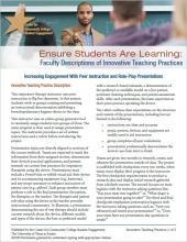 Ensure Students Are Learning: Faculty Descriptions of Innovative Teaching Practices: Increasing Engagement With Peer Instruction and Role-Play Presentations