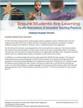 Ensure Students Are Learning: Faculty Descriptions of Innovative Teaching Practices: Analyzing Paragraph Structure