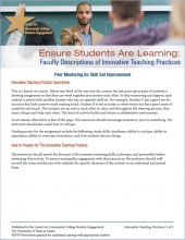 Ensure Students Are Learning: Faculty Descriptions of Innovative Teaching Practices: Peer Mentoring for Skill Set Improvement