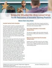 Ensure Students Are Learning: Faculty Descriptions of Innovative Teaching Practices: Musical Chairs Group Stories