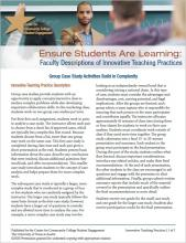 Ensure Students Are Learning: Faculty Descriptions of Innovative Teaching Practices: Group Case Study Activities Build in Complexity