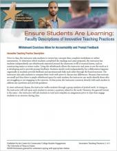 Ensure Students Are Learning: Faculty Descriptions of Innovative Teaching Practices: Whiteboard Exercises Allow for Accountability and Prompt Feedback