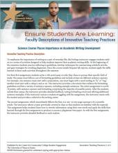 Ensure Students Are Learning: Faculty Descriptions of Innovative Teaching Practices: Science Course Places Importance on Academic Writing Development