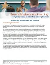 Ensure Students Are Learning: Faculty Descriptions of Innovative Teaching Practices: Increasing Class Discussion Through Team Presentation