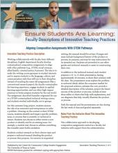 Ensure Students Are Learning: Faculty Descriptions of Innovative Teaching Practices: Aligning Composition Assignments With STEM Pathways