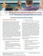 Ensure Students Are Learning: Faculty Descriptions of Innovative Teaching Practices: Contextualized Learning Using Rhetorical Strategies
