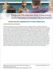 Ensure Students Are Learning: Faculty Descriptions of Innovative Teaching Practices: Classroom Becomes a Negotiation Room in Product Liability Exercise