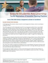 Ensure Students Are Learning: Faculty Descriptions of Innovative Teaching Practices: Course Offers Wide Variety in Assignments and Asks for Commitment