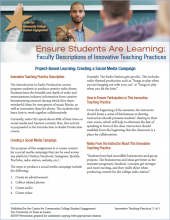 Ensure Students Are Learning: Faculty Descriptions of Innovative Teaching Practices: Project-Based Learning: Creating a Social Media Campaign