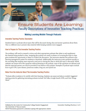 Ensure Students Are Learning: Faculty Descriptions of Innovative Teaching Practices: Making Learning Mobile Through Podcasts