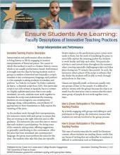 Ensure Students Are Learning: Faculty Descriptions of Innovative Teaching Practices: Script Interpretation and Performance