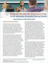 Ensure Students Are Learning: Faculty Descriptions of Innovative Teaching Practices: Using Fairytales for In-Depth Analysis Project