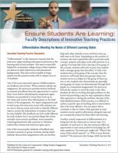 Ensure Students Are Learning: Faculty Descriptions of Innovative Teaching Practices: Differentiation: Meeting the Needs of Different Learning Styles