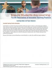 Ensure Students Are Learning: Faculty Descriptions of Innovative Teaching Practices: Learning Styles and Paper Airplanes