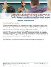 Ensure Students Are Learning: Faculty Descriptions of Innovative Teaching Practices: Bean Game Budgeting Exercise