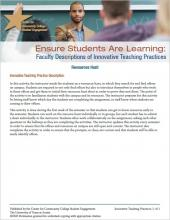 Ensure Students Are Learning: Faculty Descriptions of Innovative Teaching Practices: Resources Hunt