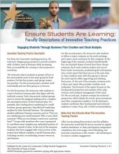 Ensure Students Are Learning: Faculty Descriptions of Innovative Teaching Practices: Engaging Students Through Business Plan Creation and Stock Analysis