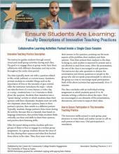 Ensure Students Are Learning: Faculty Descriptions of Innovative Teaching Practices: Collaborative Learning Activities Packed Inside a Single Class Session