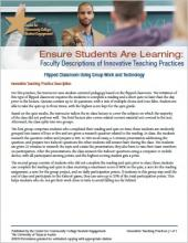 Ensure Students Are Learning: Faculty Descriptions of Innovative Teaching Practices: Flipped Classroom Using Group Work and Technology