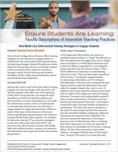 Ensure Students Are Learning: Faculty Descriptions of Innovative Teaching Practices: Real World Law Enforcement Training Strategies to Engage Students