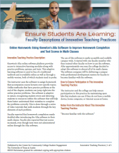 Ensure Students Are Learning: Faculty Descriptions of Innovative Teaching Practices: Online Homework: Using Knewton's Alta Software to Improve Homework Completion and Test Scores in Math Classes