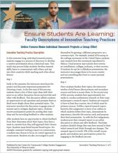 Ensure Students Are Learning: Faculty Descriptions of Innovative Teaching Practices: Online Forums Make Individual Research Projects a Group Effort